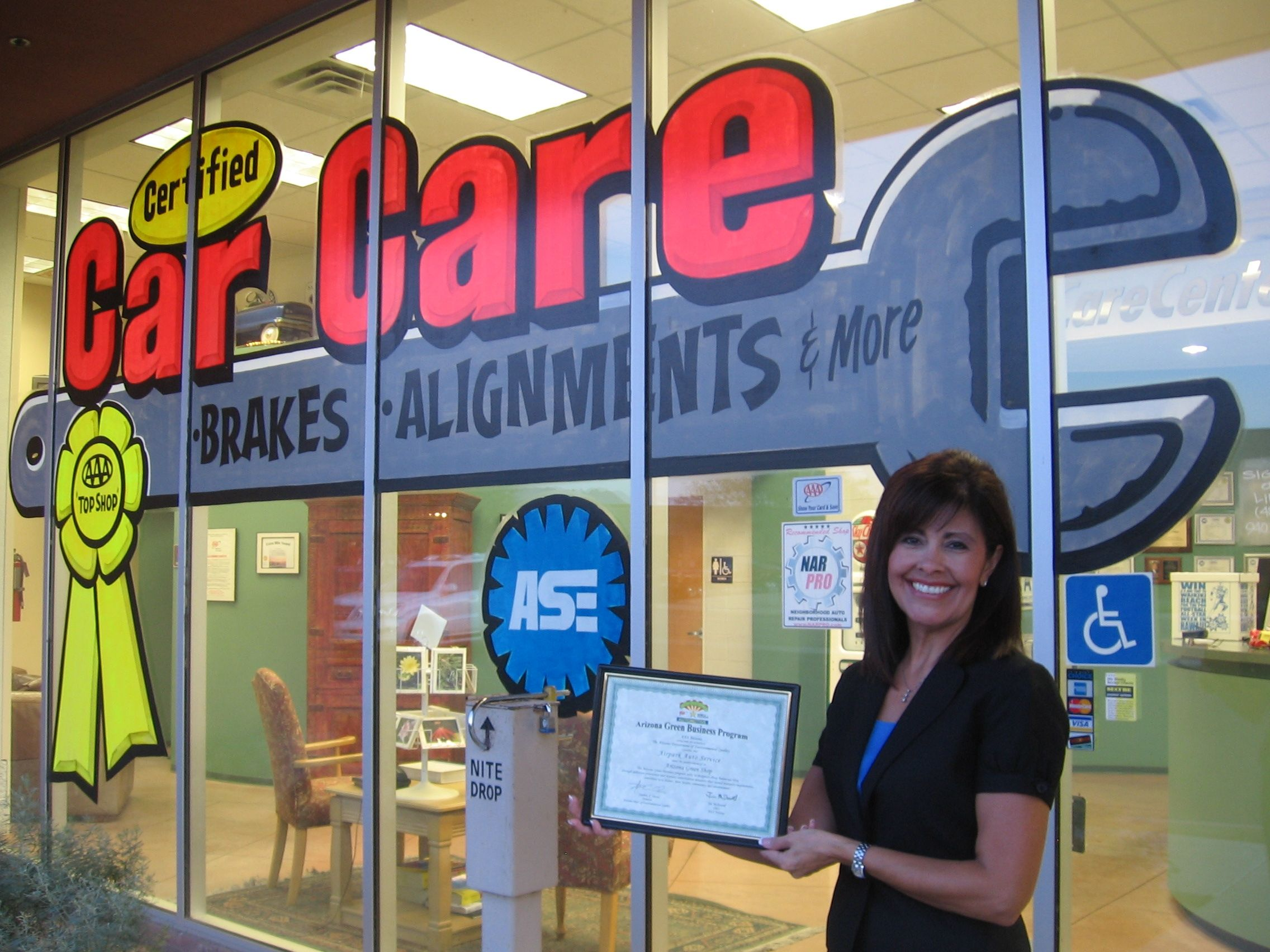 Nadine with her Green Shop Cert